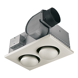 Double 250W Bulb Heat with 70 CFM, 3.5 Sones Exhaust Fan